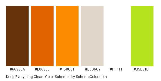 Keep Everything Clean - Color scheme palette thumbnail - #66330a #e06300 #fb8c01 #e0d6c9 #ffffff #b5e31d