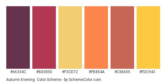 Autumn Evening - Color scheme palette thumbnail - #66334c #b03850 #f3cd72 #fb854a #c86655 #fdc943