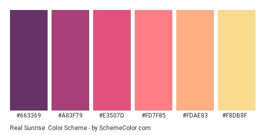 Real Sunrise - Color scheme palette thumbnail - #663369 #a83f79 #e3507d #fd7f85 #fdae83 #f8db8f