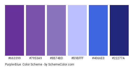 Purple-Blue - Color scheme palette thumbnail - #663399 #7953a9 #8b74bd #b9bfff #4066e0 #22277a