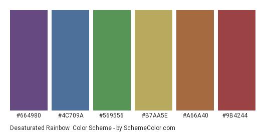 Desaturated Rainbow - Color scheme palette thumbnail - #664980 #4c709a #569556 #b7aa5e #a66a40 #9b4244