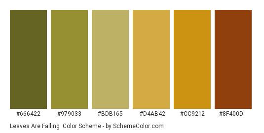 Leaves are Falling - Color scheme palette thumbnail - #666422 #979033 #bdb165 #d4ab42 #cc9212 #8f400d
