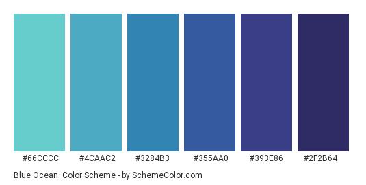 Blue Ocean - Color scheme palette thumbnail - #66cccc #4caac2 #3284b3 #355aa0 #393e86 #2f2b64