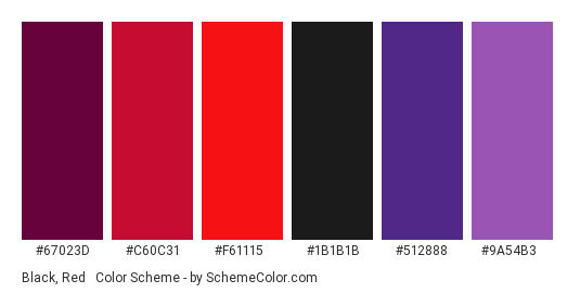 Black, Red & Purple - Color scheme palette thumbnail - #67023d #c60c31 #f61115 #1b1b1b #512888 #9a54b3