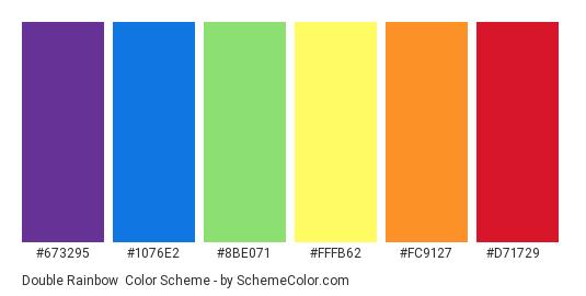 Double Rainbow - Color scheme palette thumbnail - #673295 #1076e2 #8be071 #fffb62 #fc9127 #d71729