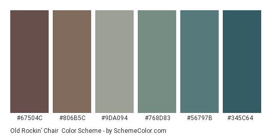 Old Rockin' Chair - Color scheme palette thumbnail - #67504c #806b5c #9da094 #768d83 #56797b #345c64