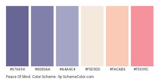 Peace of Mind - Color scheme palette thumbnail - #676694 #8080aa #a4a4c4 #f5e9dd #facab6 #f5939c