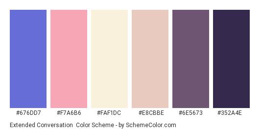 Extended Conversation - Color scheme palette thumbnail - #676dd7 #f7a6b6 #faf1dc #e8cbbe #6e5673 #352a4e