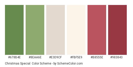 Christmas Special - Color scheme palette thumbnail - #678B4E #8EAA6E #E3D9CF #FBF5E9 #B8555E #983843