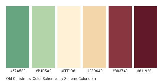 Old Christmas - Color scheme palette thumbnail - #67A580 #B1D5A9 #FFF1D6 #f3d6a9 #883740 #611928