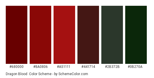 Dragon Blood - Color scheme palette thumbnail - #680000 #8a0806 #a51111 #441714 #2b372b #0b270a