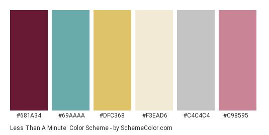 Less than a Minute - Color scheme palette thumbnail - #681a34 #69aaaa #dfc368 #f3ead6 #c4c4c4 #c98595
