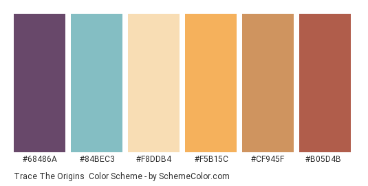 Trace the Origins - Color scheme palette thumbnail - #68486a #84bec3 #f8ddb4 #f5b15c #cf945f #b05d4b