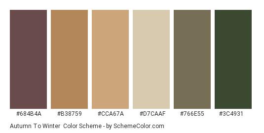 Autumn to Winter - Color scheme palette thumbnail - #684b4a #b38759 #cca67a #d7caaf #766e55 #3c4931