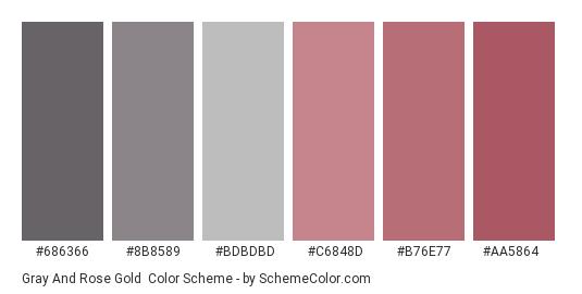 Gray and Rose Gold - Color scheme palette thumbnail - #686366 #8B8589 #BDBDBD #C6848D #B76E77 #AA5864
