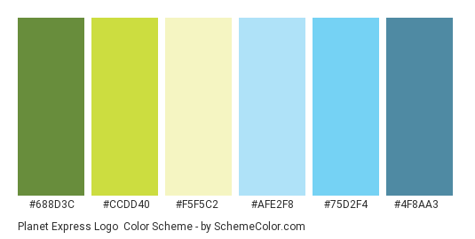 Planet Express Logo - Color scheme palette thumbnail - #688d3c #ccdd40 #f5f5c2 #afe2f8 #75d2f4 #4f8aa3