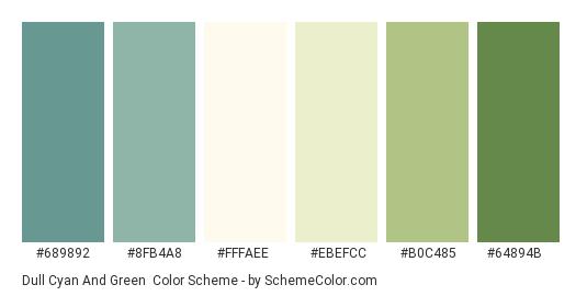 Dull Cyan and Green - Color scheme palette thumbnail - #689892 #8fb4a8 #fffaee #ebefcc #b0c485 #64894b