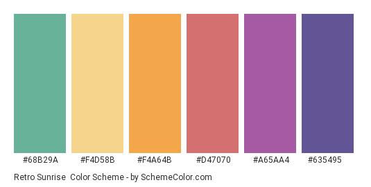 Retro Sunrise - Color scheme palette thumbnail - #68b29a #f4d58b #f4a64b #d47070 #a65aa4 #635495