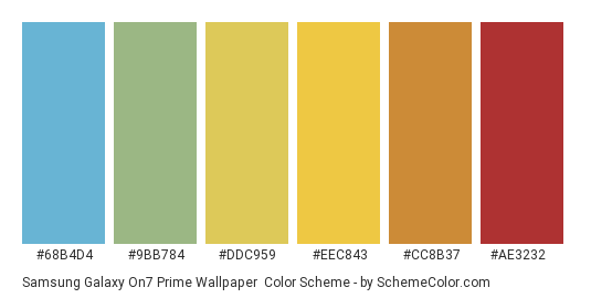 Samsung Galaxy On7 Prime Wallpaper - Color scheme palette thumbnail - #68b4d4 #9bb784 #ddc959 #eec843 #cc8b37 #ae3232