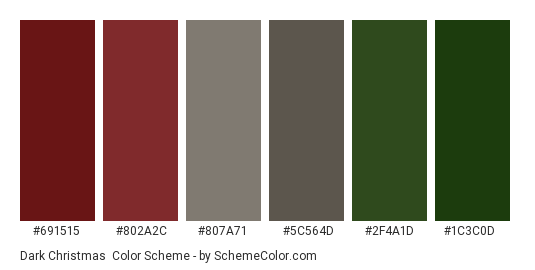 Dark Christmas - Color scheme palette thumbnail - #691515 #802a2c #807a71 #5c564d #2f4a1d #1c3c0d