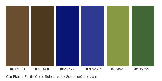Our Planet Earth - Color scheme palette thumbnail - #694e30 #4d3a1e #0a1474 #2e3a92 #879941 #406735