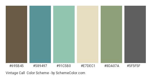 Vintage Call - Color scheme palette thumbnail - #695b45 #589497 #91c5b0 #e7dec1 #8da07a #5f5f5f