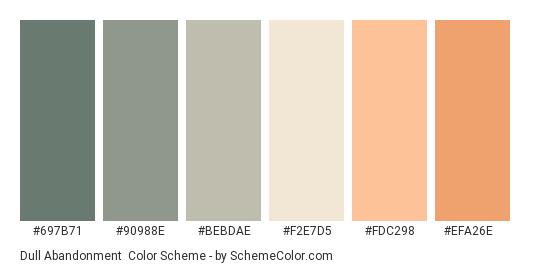 Dull Abandonment - Color scheme palette thumbnail - #697b71 #90988e #bebdae #f2e7d5 #fdc298 #efa26e