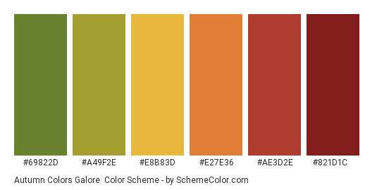 Autumn Colors Galore - Color scheme palette thumbnail - #69822d #a49f2e #e8b83d #e27e36 #ae3d2e #821d1c