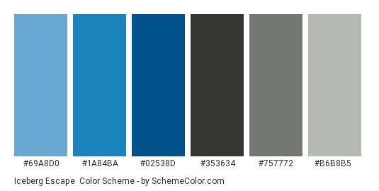 Iceberg Escape - Color scheme palette thumbnail - #69a8d0 #1a84ba #02538d #353634 #757772 #b6b8b5