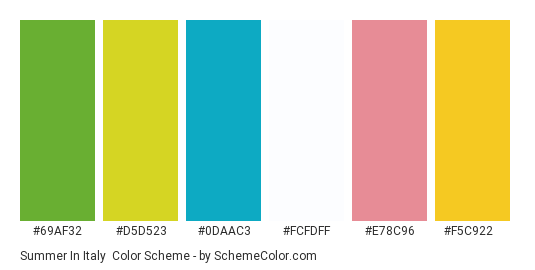 Summer in Italy - Color scheme palette thumbnail - #69af32 #d5d523 #0daac3 #fcfdff #e78c96 #f5c922