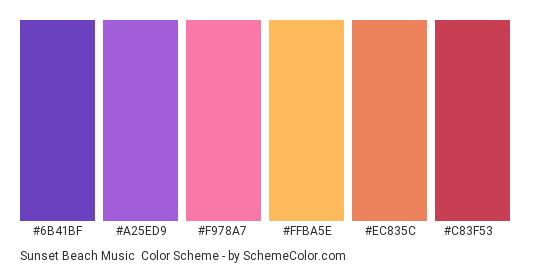 Sunset Beach Music - Color scheme palette thumbnail - #6B41BF #A25ED9 #F978A7 #FFBA5E #EC835C #c83f53