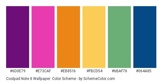Coolpad Note 8 Wallpaper - Color scheme palette thumbnail - #6D0E79 #E73CAF #EB8516 #FBCD54 #6BAF76 #064A85