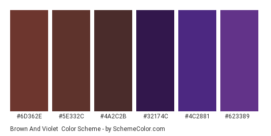 Brown and Violet - Color scheme palette thumbnail - #6D362E #5E332C #4A2C2B #32174C #4C2881 #623389