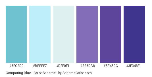 Comparing Blue & Purple - Color scheme palette thumbnail - #6FC2D0 #BEEEF7 #DFF0F1 #826DB8 #5E459C #3F348E