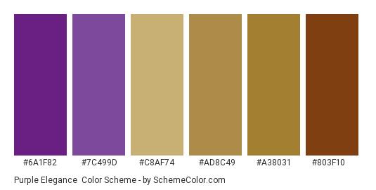 Purple Elegance - Color scheme palette thumbnail - #6a1f82 #7c499d #c8af74 #ad8c49 #a38031 #803f10