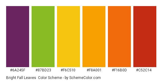 Bright Fall Leaves - Color scheme palette thumbnail - #6a245f #87bd23 #f6c510 #f8a001 #f16b0d #c52c14