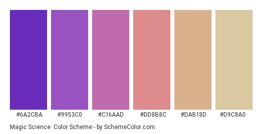 Magic Science - Color scheme palette thumbnail - #6a2cba #9953c0 #c16aad #dd8b8c #dab18d #d9c8a0