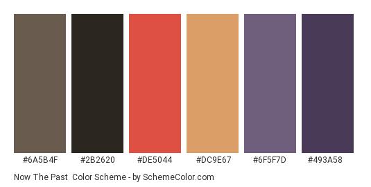 Now the Past - Color scheme palette thumbnail - #6a5b4f #2b2620 #de5044 #dc9e67 #6f5f7d #493a58