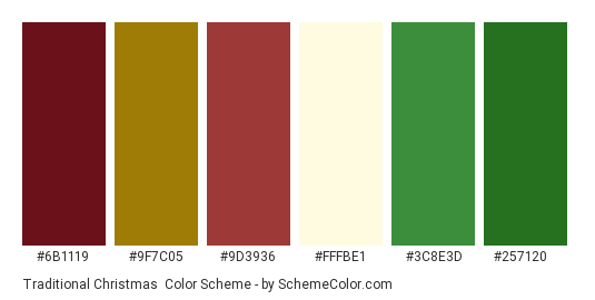 Traditional Christmas - Color scheme palette thumbnail - #6b1119 #9f7c05 #9d3936 #fffbe1 #3c8e3d #257120