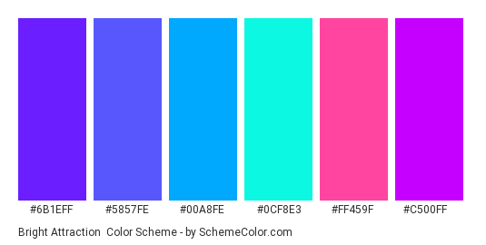 Bright Attraction - Color scheme palette thumbnail - #6b1eff #5857fe #00a8fe #0cf8e3 #ff459f #c500ff