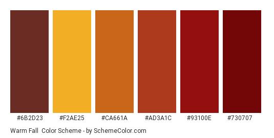 Warm Fall - Color scheme palette thumbnail - #6b2d23 #f2ae25 #ca661a #ad3a1c #93100e #730707