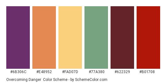Overcoming Danger - Color scheme palette thumbnail - #6b306c #e48952 #fad07d #77a380 #622329 #b01708