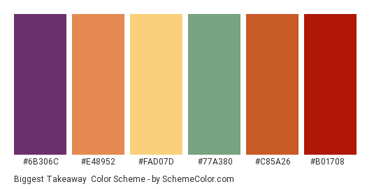 Biggest Takeaway - Color scheme palette thumbnail - #6b306c #e48952 #fad07d #77a380 #c85a26 #b01708