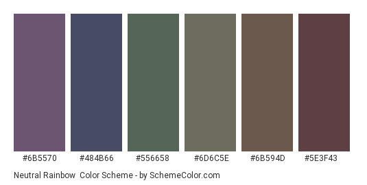 Neutral Rainbow - Color scheme palette thumbnail - #6b5570 #484b66 #556658 #6d6c5e #6b594d #5e3f43