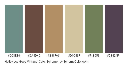Hollywood Goes Vintage - Color scheme palette thumbnail - #6c8e86 #6a4d40 #b38f66 #d1c49f #718059 #53424f