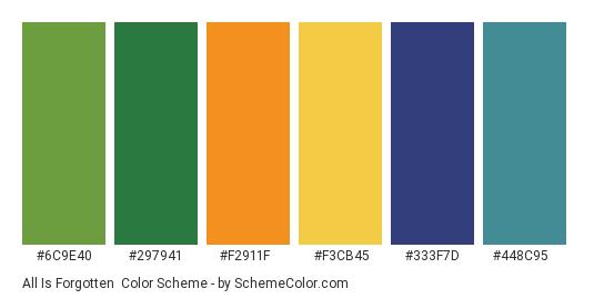All is Forgotten - Color scheme palette thumbnail - #6c9e40 #297941 #f2911f #f3cb45 #333f7d #448c95