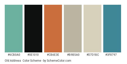 Old Address - Color scheme palette thumbnail - #6cb0a0 #0e1010 #cb6e3e #b9b5a0 #d7d1bc #3f8797