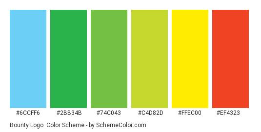 Bounty Logo - Color scheme palette thumbnail - #6ccff6 #2bb34b #74c043 #c4d82d #ffec00 #ef4323