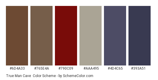 True Man Cave - Color scheme palette thumbnail - #6d4a33 #765e4a #790c09 #aaa495 #4d4c65 #393a51