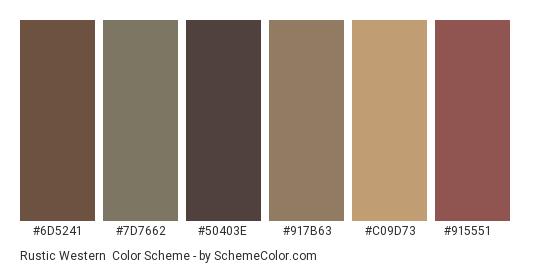 Rustic Western - Color scheme palette thumbnail - #6d5241 #7d7662 #50403e #917b63 #c09d73 #915551